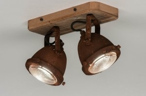 plafondlamp 12594 industrie look landelijk rustiek modern stoer raw hout metaal roest bruin brons rond vierkant