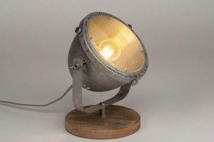 tafellamp 12596 industrie look landelijk rustiek stoer raw hout gegalvaniseerd staal thermisch verzinkt metaal zink grijs rond