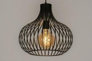 hanglamp 12599 design modern metaal zwart mat rond