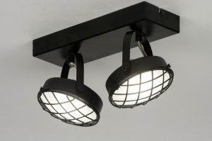 plafondlamp 12605 industrie look modern metaal zwart mat rond vierkant