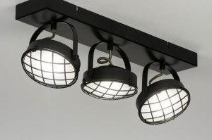 plafondlamp 12606 industrie look modern metaal zwart mat rond vierkant
