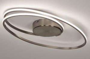 plafondlamp 12607 modern staal rvs metaal staalgrijs ovaal
