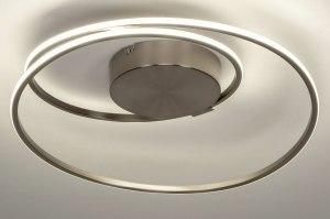 plafondlamp 12609 modern staal rvs metaal staalgrijs rond