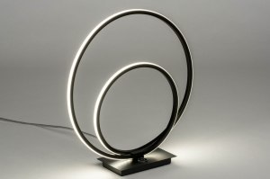 tafellamp 12611 design modern metaal zwart mat rond