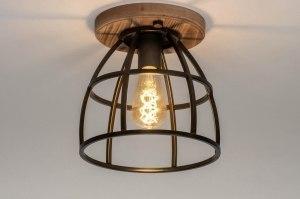 plafondlamp 12612 industrie look landelijk rustiek hout metaal zwart bruin antraciet donkergrijs hout rond