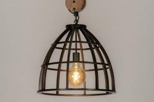 hanglamp 12613 industrie look landelijk rustiek modern hout metaal grijs brons rond