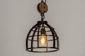 hanglamp 12614 industrie look landelijk rustiek hout metaal zwart bruin antraciet donkergrijs hout rond