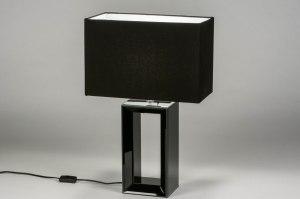 Tischleuchte 12625 Design modern zeitgemaess klassisch Glas Stoff schwarz Glanz rechteckig