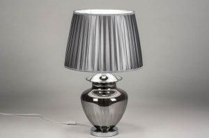 tafellamp 12626 klassiek eigentijds klassiek glas stof grijs zilvergrijs