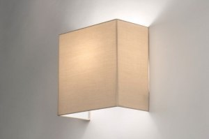 wandlamp 12628 modern stof beige zand vierkant