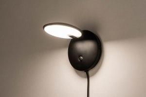 wandlamp 12664 modern metaal zwart mat rond