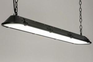 hanglamp 12667 industrie look modern stoer raw metaal zwart mat langwerpig