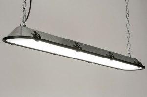 hanglamp 12668 industrie look modern stoer raw gegalvaniseerd staal thermisch verzinkt metaal zink staalgrijs zink langwerpig
