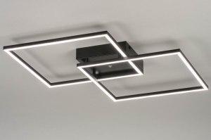 plafondlamp 12743 modern aluminium metaal zwart mat vierkant langwerpig rechthoekig