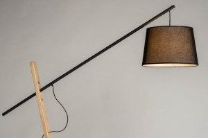 vloerlamp 12744 industrie look landelijk rustiek modern hout licht hout metaal zwart mat hout rechthoekig