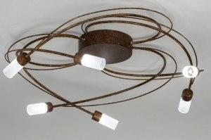 plafondlamp 12747 landelijk rustiek modern eigentijds klassiek metaal roest bruin brons bruin rond