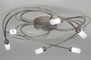 plafondlamp 12748 modern staal rvs metaal staalgrijs rond
