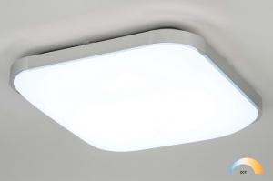 plafondlamp 12753 modern aluminium kunststof metaal wit aluminium chroom vierkant