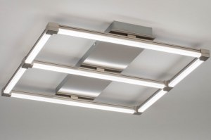 plafondlamp 12755 modern staal rvs metaal staalgrijs vierkant