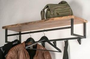 kapstok 12758 industrie look landelijk rustiek modern hout metaal oldmetal (gunmetal) zwart bruin langwerpig rechthoekig