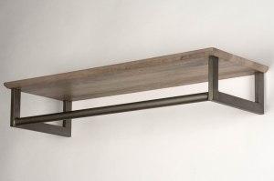 kapstok 12759 industrie look landelijk rustiek modern hout metaal grijs bruin oldmetal (gunmetal) rechthoekig