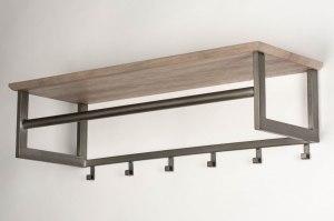 kapstok 12760 industrie look landelijk rustiek modern hout metaal grijs bruin oldmetal (gunmetal) rechthoekig