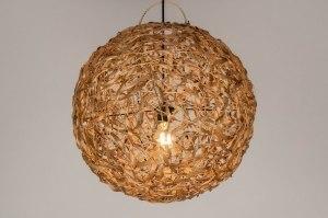 hanglamp 12777 landelijk rustiek modern retro riet bruin rond