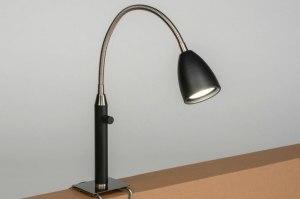tafellamp 12785 modern staal rvs metaal zwart mat staalgrijs rond