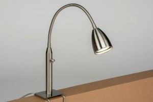 tafellamp 12786 modern staal rvs metaal staalgrijs rond