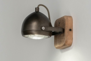 plafondlamp 12787 industrie look stoer raw hout metaal zwart antraciet donkergrijs oldmetal (gunmetal) rond vierkant