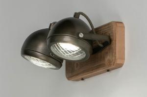 plafondlamp 12788 industrie look stoer raw hout metaal zwart antraciet donkergrijs oldmetal (gunmetal) rond langwerpig rechthoekig