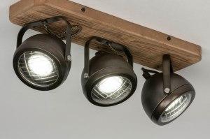 plafondlamp 12789 industrie look stoer raw hout metaal zwart antraciet donkergrijs oldmetal (gunmetal) rond langwerpig rechthoekig