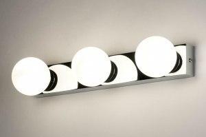 wandlamp 12819 modern glas wit opaalglas metaal wit mat chroom langwerpig rechthoekig