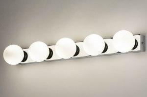 wandlamp 12820 modern glas wit opaalglas metaal wit mat chroom langwerpig rechthoekig
