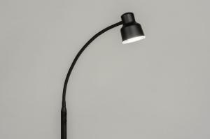 vloerlamp 12827 modern metaal zwart mat rond