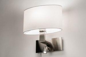wandlamp 12840 modern eigentijds klassiek staal rvs stof wit staalgrijs ovaal