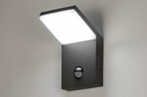 wandlamp 12856 modern aluminium metaal antraciet donkergrijs vierkant rechthoekig