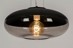 hanglamp 12859 modern retro glas zwart chroom mat grijs antraciet donkergrijs rond