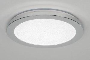 plafondlamp 12860 modern kunststof wit chroom rond