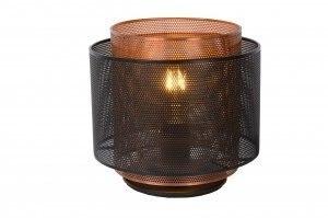tafellamp 12882 modern metaal zwart roodkoper rond