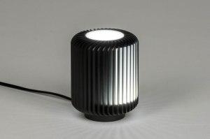 tafellamp 12889 modern stoer raw metaal zwart rond