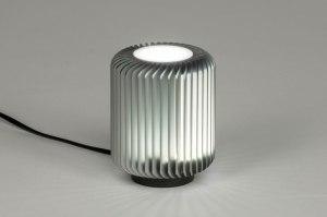 tafellamp 12890 modern stoer raw metaal grijs antraciet donkergrijs rond