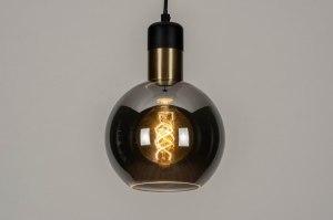 hanglamp 12891 modern retro glas zwart mat grijs messing rond