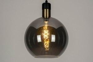 hanglamp 12892 modern retro glas zwart mat grijs messing rond