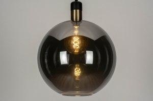 hanglamp 12893 modern retro glas zwart mat grijs messing rond