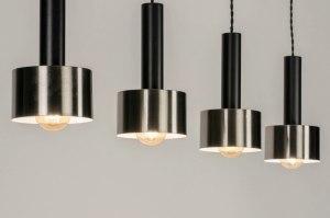 hanglamp 12896 design modern retro staal rvs metaal zwart mat staalgrijs rond langwerpig