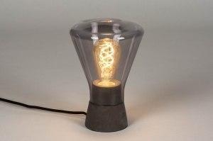 tafellamp 12900 modern retro glas beton zwart chroom mat grijs antraciet donkergrijs rond