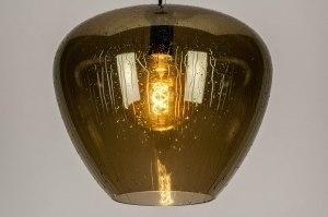 Pendelleuchte 12902 Design laendlich rustikal modern Retro Glas Metall Gold oval