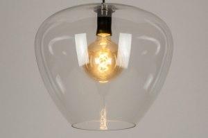 hanglamp 12903 design landelijk rustiek modern retro glas helder glas metaal zwart transparant kleurloos ovaal