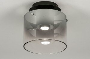 plafondlamp 12905 design modern glas metaal zwart mat grijs zilvergrijs rond